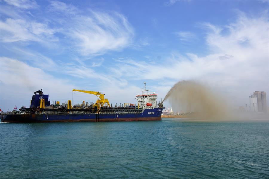 中斯共同开发的科伦坡港口城项目填海造地工程完工
