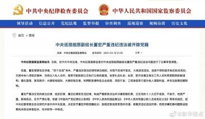 中央巡视组原副组长董宏严重违纪违法被开除党籍